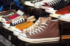 Outdoor Vendor Sells Canvas Shoes Royalty Free Stock Photography