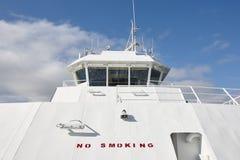 Outdoor vessel control captain bridge detail. Sea navigation. Royalty Free Stock Photo
