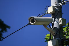 Outdoor video camera. Road police supervision outdoor video camera Royalty Free Stock Photography