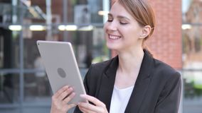 Outdoor Video Chat on Tablet by Young Businesswoman. 4k high quality, 4k high quality stock video footage