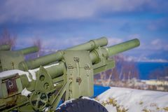 Outdoor view of antiaircraft gun in Trondheim. Norway Stock Photography