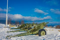 Outdoor view of antiaircraft gun in Trondheim. Norway, over the snow Stock Image