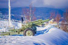 Outdoor view of antiaircraft gun in Trondheim. Norway, over the snow Stock Images