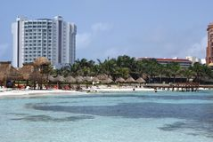 Outdoor view of a beach in Cancun, Mexico Stock Photo