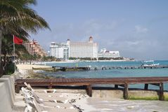 Outdoor view of a beach in Cancun, Mexico Royalty Free Stock Photos