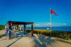 Outdoor view of beautiful huts located along the beach in PLaya del Carmen at Caribbean Sea in Mexico.  Stock Photos