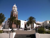 Outdoor view of church in Yaiza City, Lanzarote. stock images