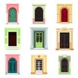 Outdoor view on classic doors or entrance, exit vector illustration