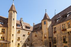 Outdoor View of Colorful Classic Castle Exteriors Walls and Windows. Outdoor View of Colorful Classic Castle Exteriors Walls and Windows in old town Neuchatel stock photos
