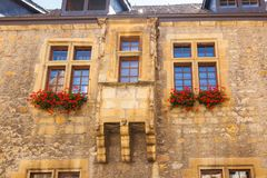 Outdoor View of Colorful Classic Castle Exteriors Walls and Windows. Outdoor View of Colorful Classic Castle Exteriors Walls and Windows in old town Neuchatel stock photography