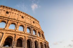 Colosseum in Rome. Outdoor view of The Colosseum or Coliseum, also known as the Flavian Amphitheatre. It is an oval amphitheatre in the centre of the city of Stock Photography