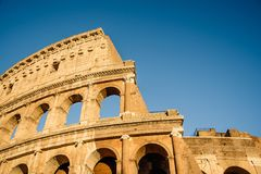 Colosseum in Rome. Outdoor view of The Colosseum or Coliseum, also known as the Flavian Amphitheatre. It is an oval amphitheatre in the centre of the city of Royalty Free Stock Image