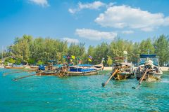 Outdoor view of Fishing thai boats in a row in Po-da island, Krabi Province, Andaman Sea, South of Thailand.  Stock Photography
