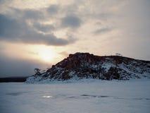 Frozen Lake Baikal. Winter. Stock Photos