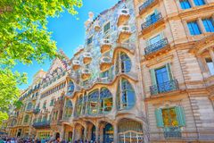 Outdoor view Gaudi`s creation - Casa Batlo. Building that is n. Barcelona, Spain - June 12, 2017 : Outdoor view Gaudi`s creation-house Casa Batlo. The building royalty free stock images