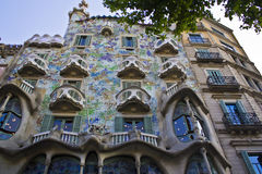 Outdoor view Gaudi`s house Casa Batlo Stock Images