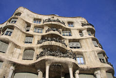 Outdoor view of Gaudi`s house Casa Mila in Barcelona, Spai Royalty Free Stock Photo