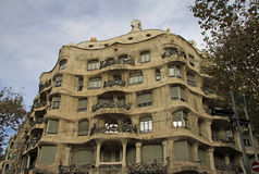 Outdoor view of Gaudi`s house Casa Mila in Barcelona, Spain Royalty Free Stock Photo