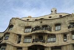 Outdoor view of Gaudi`s house Casa Mila in Barcelona, Spain Stock Images