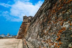 Outdoor view of historic castle of San Felipe De Barajas on a hill overlooking the Spanish colonial city of Cartagena de Stock Photography