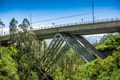 Outdoor view of metallic huge structure bridge, to visit the municipal dump in a beautiful day in the city of Quito Royalty Free Stock Image