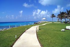 Outdoor view of a path at a Mexican beach in Cancun city Stock Photo
