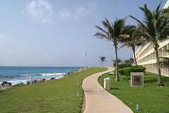 Outdoor view of a path at the Mexican gulf side in Cancun Royalty Free Stock Photography