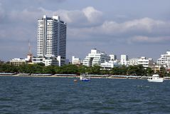 Outdoor view of Pattaya city beach or seaside in Thailand, Asia Royalty Free Stock Photo