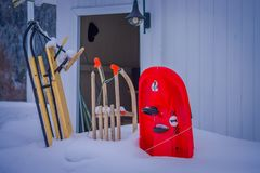 Outdoor view of skis of dog sledding in snowdrift on winter resort, in a nature background.  Royalty Free Stock Photos