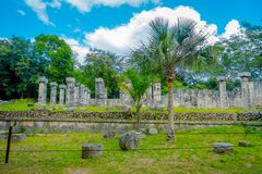 Outdoor view of some collumns and ruins located in Chichen Itza in Mexico.  Royalty Free Stock Images