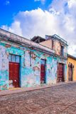 Outdoor view of stoned street view of Antigua Guatemala, the historic city Antigua is UNESCO World Heritage Site since. 1979 in Guatemala Royalty Free Stock Photography