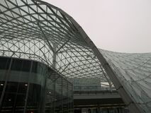 Outdoor view of a tensile structure curved panel