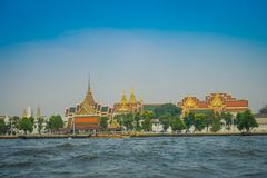 Outdoor view of Wat Pho or Wat Phra Chetuphon, `Wat` means temple in Thai located in the horzont. The temple is one of. Bangkok`s most famous tourist sites in Stock Images