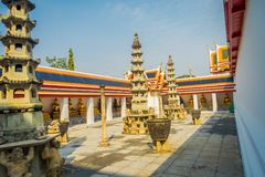 Outdoor view of Wat Pho or Wat Phra Chetuphon, `Wat` means temple in Thai. The temple is one of Bangkok`s most famous. Tourist sites in Thailand Royalty Free Stock Image