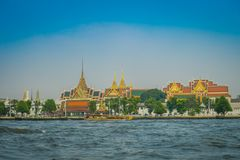 Outdoor view of Wat Pho or Wat Phra Chetuphon, `Wat` means temple in Thai located in the horzont. The temple is one of. Bangkok`s most famous tourist sites in Stock Image
