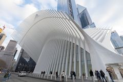 Outdoor view of World Trade Center Transportation Hub or Oculus in Lower Manhattan. New York, USA - November 26, 2018 : Outdoor view of World Trade Center stock image