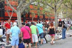Entertainment at outdoor vintage brocante flea market, Valencia, Spain stock images