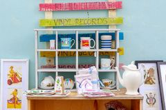 Outdoor vintage shop in Southwold, a popular seaside town in the royalty free stock images