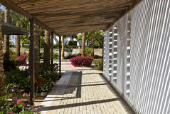 Outdoor walkway at hotel Royalty Free Stock Images