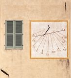 Outdoor wall decoration: sundial Royalty Free Stock Photography