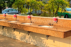 Outdoor Washbasin in Gas Station Stock Photo
