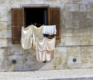 An outdoor washing on Favignana island (city) near to Sicily in Italy Stock Photography