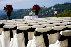 Outdoor Wedding. Chairs set up for an outdoor wedding Stock Photography