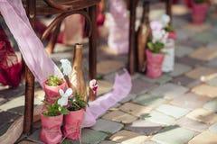 Outdoor wedding aisle at a destination wedding royalty free stock photo