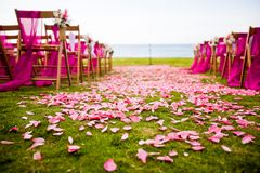 Outdoor Wedding aisle. With rose petals scattered on the ground stock photography