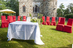 Outdoor wedding in the castle Stock Image