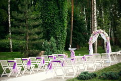 Outdoor wedding  ceremony decoration Stock Photo