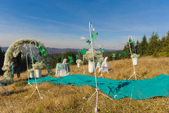 Outdoor wedding ceremony scene on a mountain slope Stock Photo
