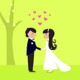 Outdoor wedding: couple have marriage in nature. Wedding bride and groom. Vector Illustration Royalty Free Stock Photo