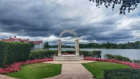 Outdoor wedding pavilion Disney Magic Kingdom. Overcast skies at Disneys Grand Floridian wedding chapel Royalty Free Stock Photography